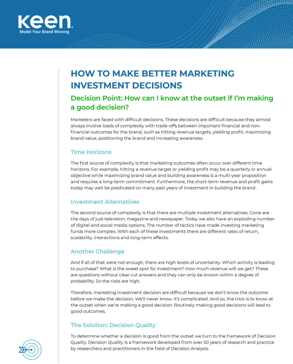 "Front page of Keen's guide ""How to Make Better Marketing Investment Decisions"""