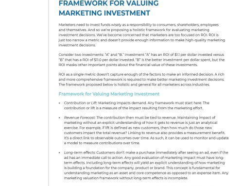 New Insights on How to Value Your Marketing Investments