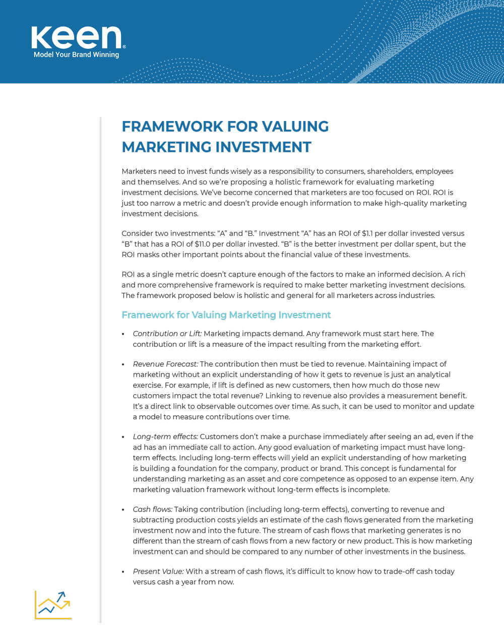 "Front page of Keen's guide ""Framework for Valuing Marketing Investment"""