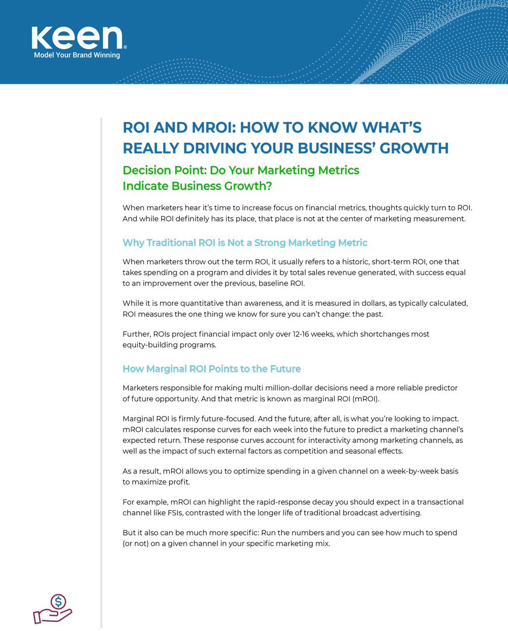 "Front page of Keen's guide ""ROI and mROI: How to Know What's Really Driving Your Business' Growth"""
