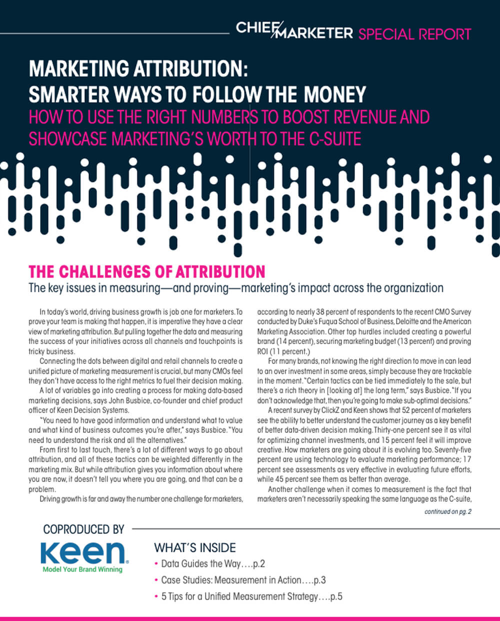 Cover of Chief Marketer and Keen joint report on marketing attribution